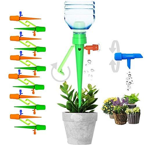 XPMY Bewässerungssystem 12 Stück Automatisch Bewässerung Set, Automatische Pflanzen Bewässerungssystem Einstellbar mit Steuerventilschalter, Plant Selbstbewässernde Spikes für Topfpflanzen