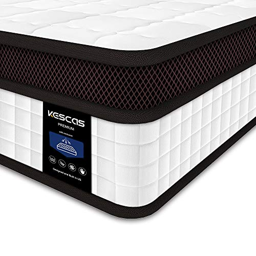 Full Mattress, Kescas 10 inch Memory Foam and Innerspring Hybrid Mattress, Pocket Spring Double Mattresses, Medium Firm Feel with 100 Night Home Trial - Full
