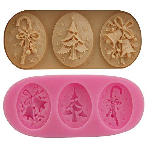 Dosige Motif de Cloches de Noël Au Gâteau Fondant Chocolat en Silicone Moule Gâteau Moule Non-Stick Qualité Alimentaire Silicone (Rose)