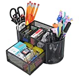 Desk Organizer with 9 Compartments, Mesh Office Organization for Scissors, Post-it, Sticky notes, Pen Holder, Metal Office Desk Organizers and Accessories