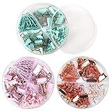 Clips Pequeños De Metal,LLMZ Juego de Clips con Caja,3 estilos, con Caja de Almacenamiento,Clips de Encuadernación,Oro + Azul + Rosa, 100x100x28MM