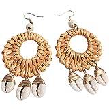 Drop Earrings Shell Rattan Earrings Bohemian Handmade Woven Wicker Lightweight Hoop Dangle Earrings for Women Girls (C)