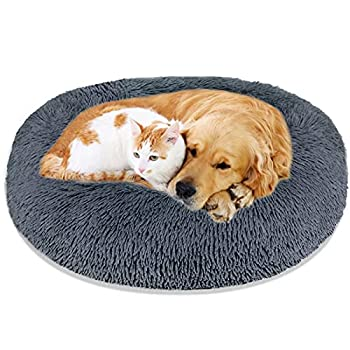 Calming Dog Bed Cat Bed Washable Round Dog Bed - 23/30/36 inches Anti-Slip Faux Fur Donut Cuddler Cat Bed for Small Medium Large Dogs - Fits up to 25/45/100 lbs - Waterproof Bottom