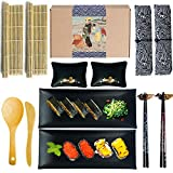Artcome Sushi Making Kit DIY Sushi Set with 2 Bamboo Rolling Mats, 2 Sushi Plates, 2 Sauce Dishes, 2 Pairs of Chopsticks, 2 Chopsticks Holders, 2 Tableware Bags, 1 Paddle and 1 Spreader(14 Pack)