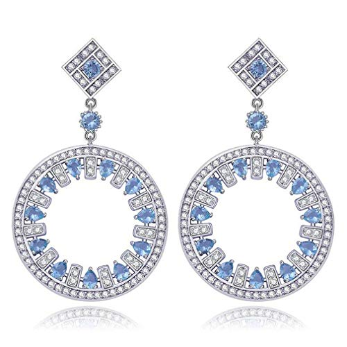 XIANGAI Elegant Round Shape Shinning Cubic Zirconia Long Drop Earring Jewelry for Women Lady Girls Valentine's Day Birthday Gifts