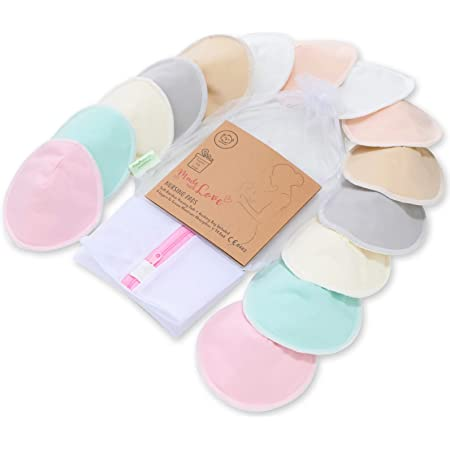 """Organic Bamboo Nursing Breast Pads - 14 Washable Pads + Wash Bag - Breastfeeding Nipple Pad for Maternity - Reusable Nipplecovers for Breast Feeding (Pastel Touch, Large 4.8"""")"""