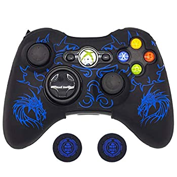 BRHE Cool Silicone Protector Cover Case Anti-Slip Soft Comfort for Xbox 360 Controller Skin  Blue