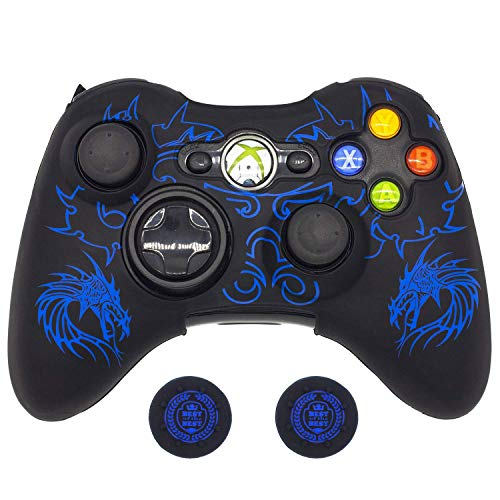 BRHE Cool Silicone Protector Cover Case Anti-Slip Soft Comfort for Xbox 360 Controller Skin (Blue)