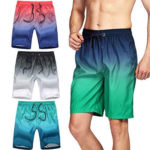 Civilever Herren-Badehose, schnelltrocknend, Farbverlauf, Strand-Shorts, Wassershorts, Urlaub, Freizeit, Sport, mit Taschen und verstellbarem Kordelzug
