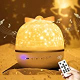 FancyWhoop Starry Projector Night Light 360° Rotatable Sky Projection Lamp with Bluetooth Star Projector with 6 Films Rotation Projector Light with Remote Control for Babies Kids and Girls (White)