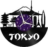 Tokyo Skyline 12 pulgadas vinilo record reloj de pared cocina hogar sala dormitorio escuela niños s regalo creativo reloj