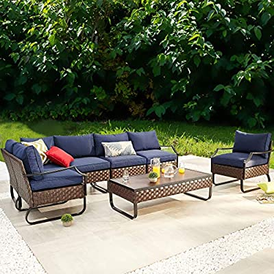 """PatioFestival 7 Pieces Patio Furniture Sets with 8.7"""" Thick Cushion Outdoor Sectional Sofa Set,Patio Conversation Set with All Weather Frame"""