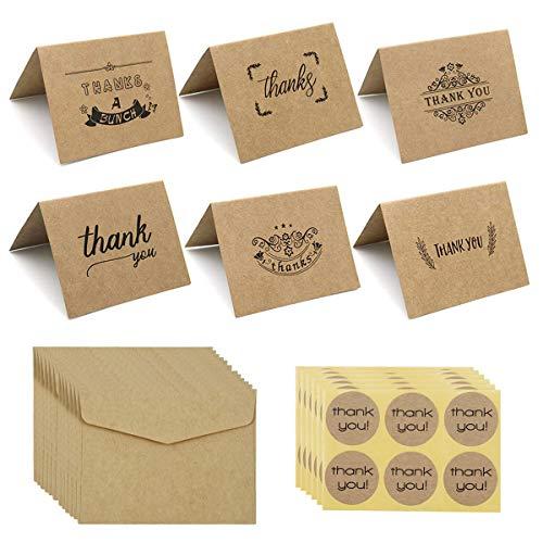 Netspower Dankeskarten Kraftpapier Grußkarte, Vintage Stil Danksagungskarten Thank You Cards Faltkarten 36 Stück Umschläge und Danke Aufkleber für Hochzeit Thanksgiving Day Order andere Festival