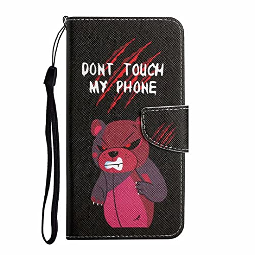 Funda para Huawei P30 Pro, a prueba de golpes, diseño de libro de piel con función atril y correa de muñeca, cierre magnético, TPU resistente protector de parachoques para Huawei P30 Pro rojo oso