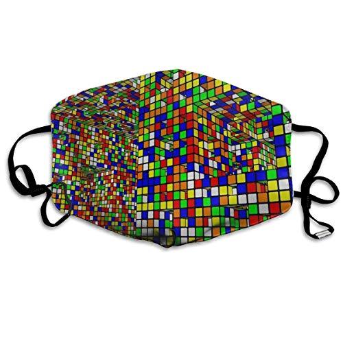 Máscara facial a prueba de polvo y polvo de media cara máscara se puede lavar reutilizable de poliéster suave contaminación, Rubiks Cube World