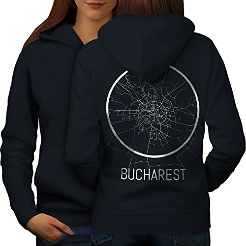 wellcoda Bucharest Map Old Fashion Womens Hoodie, Big Print on The Jumpers Back Navy 2XL