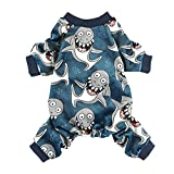 Fitwarm Shark Pet Clothes for Dog Pajamas Cat Jumpsuit PJS Apparel Lightweight Velvet Blue Medium