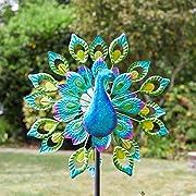 garden mile Magnificent Peacock Solar Power Garden Wind Spinner   Colourful Exotic Bird Outdoor Garden Lawn and Patio Sculpture Ornament Decorations