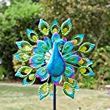 garden mile Magnificent Peacock Solar Power Garden Wind Spinner | Colourful Exotic Bird Outdoor Garden Lawn and Patio Sculpture Ornament Decorations