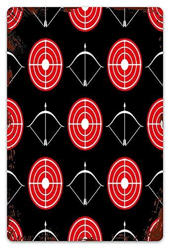 DECISAIYA Vendimia Cartel de Chapa metálica Patrón de tiro con arco blanco rojo y arco de tiro Placa Póster,Decoraciones de de Pared de Hierro Retro para Café Bar Pub Casa 20x30cm