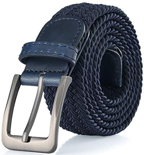 Gallery Seven Woven Elastic Braided Belt For Men - Fabric Stretch Casual Belt - Navy - Medium (36-40')