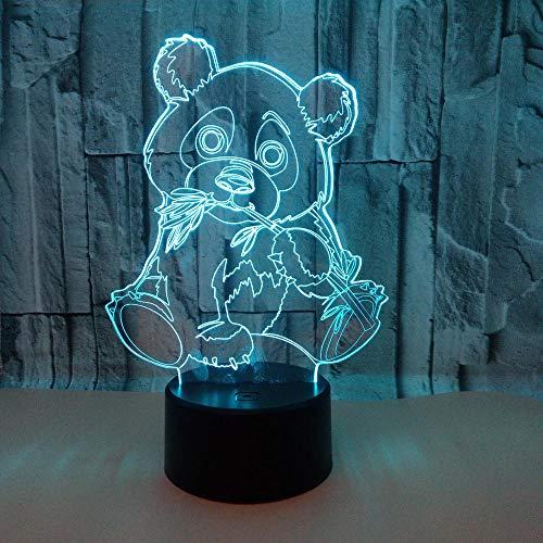 WULDOP 3D Led Luz De Noche Ilusión Panda caricatura lindo Lámpara Nocturna Luz De Noche Luz Quitamiedos Infantil Led Para Habitación Infantil Dormitorio Baño Cuna Pasillo