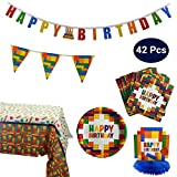 Colorful Building Blocks Party Supplies and Decoration Kit