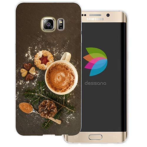 dessana Kerstmis Xmas transparante beschermhoes mobiele telefoon case cover tas voor Samsung Galaxy S Note, Samsung Galaxy S6 Edge Plus, koekjes met kaneel thee