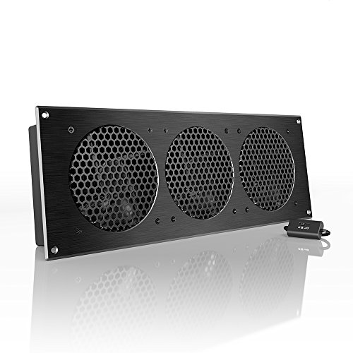 AC Infinity AIRPLATE S9, Quiet Cooling Fan System 18' with Speed Control, for Home Theater AV Cabinet Cooling