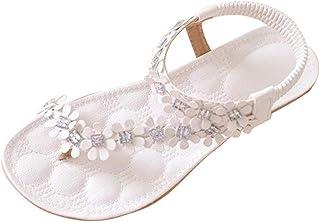 Sandalias Planas Blancas para Mujer Zapatos de Flip-Flop con Cuentas de Flores de Bohemia de Verano Blancas Tacon bajo Roma Fondo Plano Cómodo Zapatillas Chanclas riou