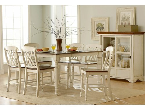 Hot Sale Ohana 7 Piece Counter Height Table Set by Home Elegance in 2 Tone Antique White & Warm Cherry
