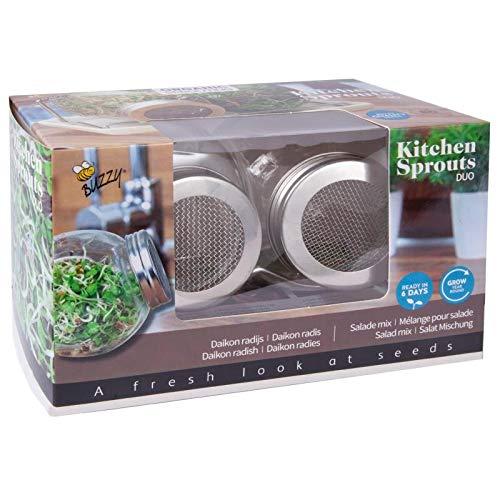 BIO Sprossen Anzuchtset Duo - 2x Sprossenglas im Set mit Halterung, Deckel und Keramikschale inkl. Samen - Keimglas für Sprossen - Keimschalen für Sprossen - Sprouting