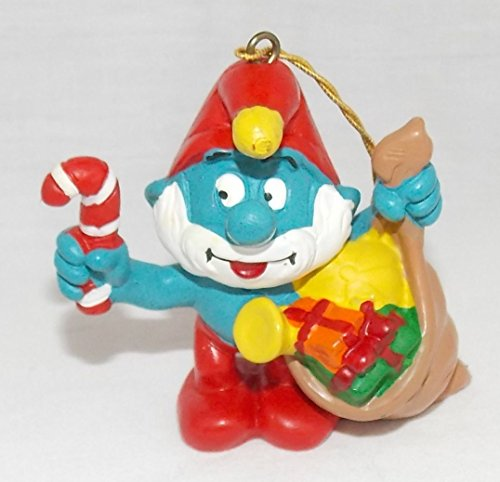 1981 Vintage 2.25' Papa Smurf Holding Candy Cane and Sack of Gifts PVC Christmas Ornament
