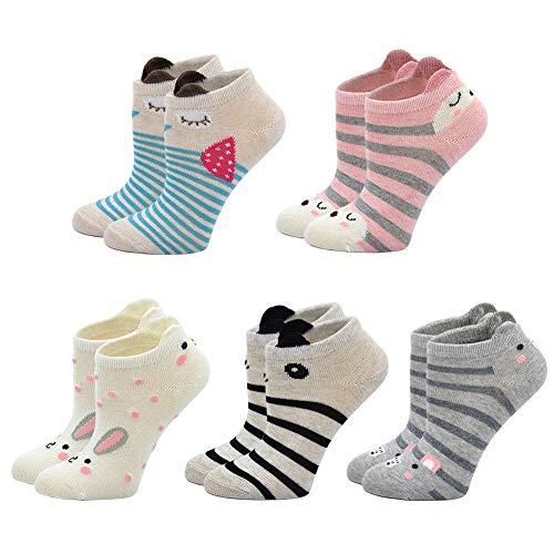 ZFSOCK Kindersocken Bunte Baumwolle Sneaker Socken für Mädchen Niedliches Tiermuster Lustige Knöchelsocken 5er Pack, für Größe 24-29, 5-7 Jahre alt