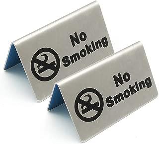 Lizipai 2 Pcs Stainless Steel No Smoking Sign Tent Card Do Not Smoke Table Board Restaurant Hotel Non-Smoking Desk Logo Indicator