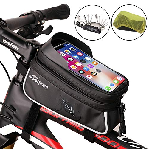 NDakter Bike Top Tube Frame Bag Bicycle Phone Holder Bag with Bicycle Repair Tool Kits, Waterproof Bicycle Phone Mount Bag Phone Case Holder Cycling Pack Compatible with iPhone X XS Max XR Samsung S9