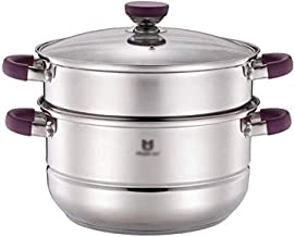 Stainless Steel Double-layer Uncoated Steamer, Anti-corrosion, Wear-resistant, Suitable for all Induction Cookers (Color :...