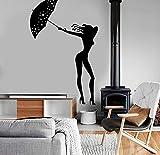 Yhysq Fille Femme Avec Parapluie Romantique Sticker Mural Vinyle Decal Home Decor...