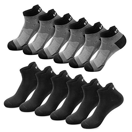 Sneaker Socken Herren Damen 6|12 Paar Kurze Baumwollsocken Sportsocken tennissocken Schwarz Weiß Bunte(Schwarz x6|Dunkelgrau x6,43-46)