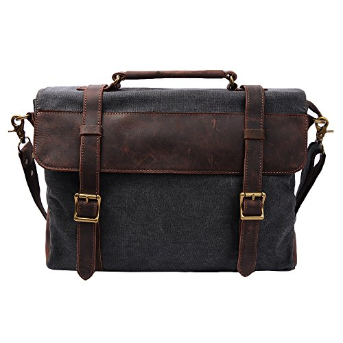 S-ZONE Canvas Messenger Bag 14 Inch Shoulder Bag Satchel School Briefcase