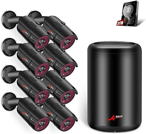 [2019 Más Reciente] ANRAN 5MP Kit 8 Cámaras de Seguridad PoE CCTV Kit Vigilancia NVR 8CH 8 Cámaras de Vigilancia Exterior Sistema Videovigilancia CCTV PoE 3TB HDD Acceso Remoto Alarma de Movimiento