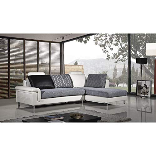 American Eagle Furniture AE-L343 Modern Upholstered Living Room Sectional Sofa with Left Facing Chaise, 76', White