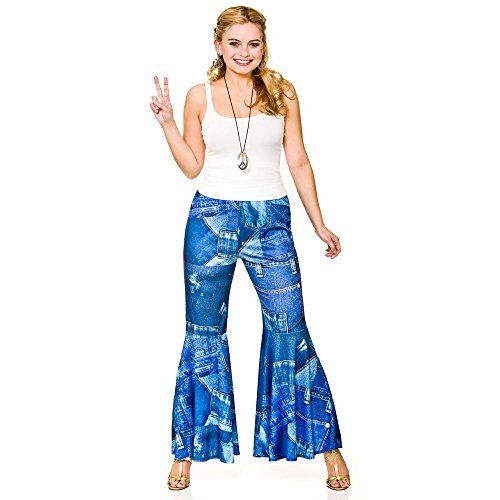 Ladies Funky Jeans Denim Print - Hippie Pants Fancy Dress Item