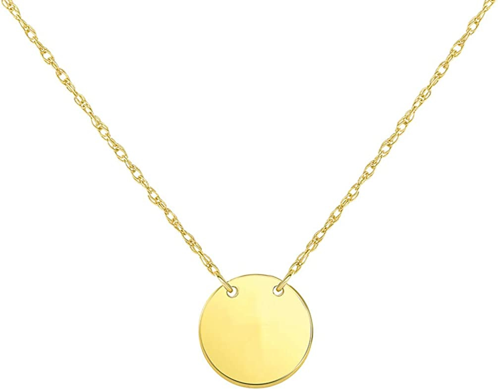 14k Yellow Gold Mini Plain Circle Disc Necklace with Spring Ring Clasp (16