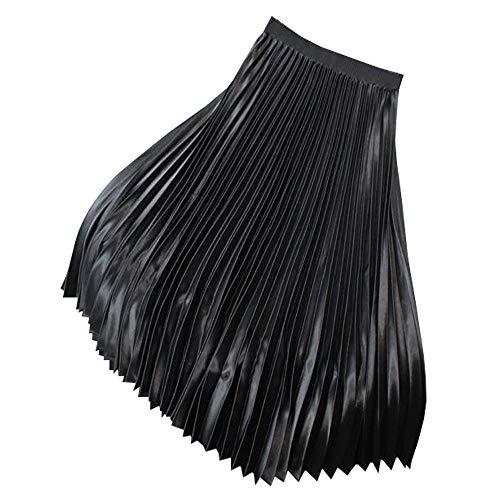 YOUMU Vestido de mujer de satén con falda plisada en forma de A, Negro, Talla única