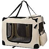 Petigi Transporttasche Faltbare Transportbox Hund Faltbox Hundetransportbox Katze Auto Auswahl, Farbe/Größe:Beige/L