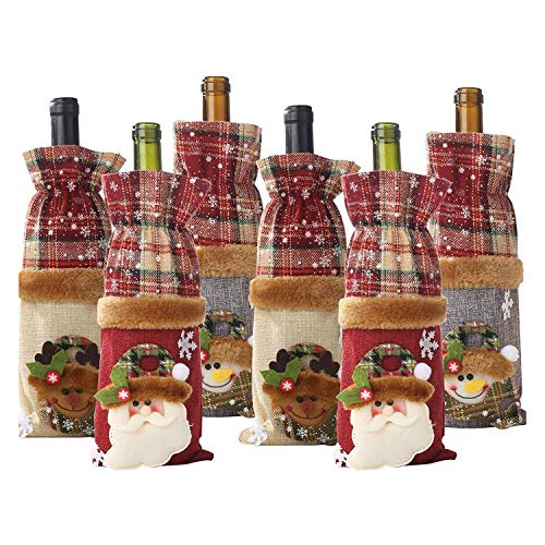 Huante Set of 6 No?L Wine Bottle Bags, Vintage Wine Bottle Covers, Snowman Santa Claus Elk, for Christmas Decorations, No?l Gift