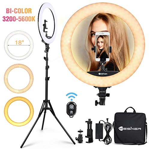 Macro /& Ringlight Flashes 18 Inch LED 360/° Ring Live Broadcast Light with You Floor-Standing Triangle Bracket,3 Colors Dimmable,Suitable for Video Photo Portrait Makeup