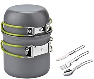 EODNSOFN Cuisuariables Portables Camping En Plein Air Cuisinerie Pot Ensemble Portable 1-2 Personne Pique-nique Ustensiles...