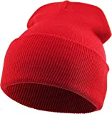 SKIHAT-Long RED Thick Beanie Skully Slouchy & Cuff Winter Hat Made in USA